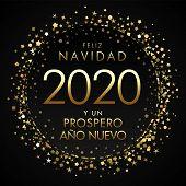 Feliz Navidad Y Un Prospero Nuevo Spanish Text. Translation: Merry Christmas And Happy 2020 New Year poster