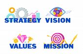 Business Vision, Mission, Values And Strategy Statement. poster
