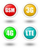 Colored Lte, 4G, 3G And Gsm Telecommunication Icon Set With Shadow
