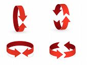 3d Rotation Sign Red Icon. 360 Rotation Arrows Sign. poster