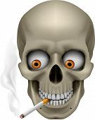 pic of eye-sockets  - Human Skull  with eyes and cigarette - JPG