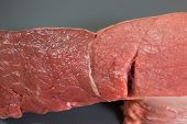Meat Studio Image. Raw Meat, Beef. Meat Blurred Focus. Piece Of Raw Meat On A Gray Background. poster