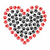 Dog Footprints In Heart Shape Illustration. Vector Bright Heart With Dog Paw Prints Symbol. Heart Sh poster