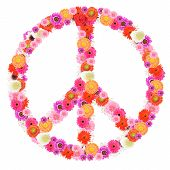 image of peace-sign  - peace sign made of beautifiul colorful flowers on white background - JPG