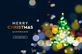 2020 New Year. Christmas Tree Sparkle Blur Bokeh Effect Horizontal Background . Dark Xmas Backdrop.  poster