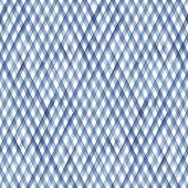 Watercolor Diagonal Stripe Plaid Seamless Pattern. Blue Stripes On White Background. Watercolour Han poster