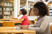 Focused Female Customer Using Public Wi-fi Hotspot In Library. Young African American Woman Sitting  poster
