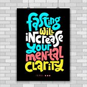 Fasting Will Increase Your Mental Clarity. Unique Vector Poster With Hand Drawn Lettering Quote Abou poster