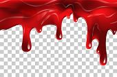 Dripping Seamless Blood. Flow Liquid, Drip Wet. Thick Red Ketchup Or Jam Flow Down Halloween Concept poster