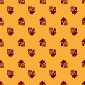 Red Rising Cost Of Housing Icon Isolated Seamless Pattern On Brown Background. Rising Price Of Real  poster