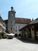 Medieval Clock Tower And Covered Market poster