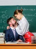 Rules For Dating. Sensual Woman And Bearded Man Dating During School Time. Couple Leading Casual Dat poster