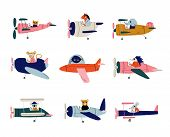 Collection Of Cute Animals Pilots Flying On Retro Planes In The Sky, Elephant, Cat, Fish, Horse, Hed poster