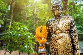 Buddha Statue Beautiful On The Way Up At The Stone With The Footprint Of Lord Buddha At Khitchakut M poster
