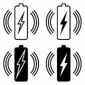 Set Icons Wireless Battery Charging, Vector Qi Standard Wireless Power Transmission For Battery poster