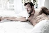 Sexy, Hairy Naked Muscular Man With Sixpack Abs Lying In Bed Covered With Sheet With Window In Backg poster
