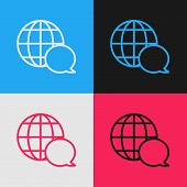 Color Line World Map Made From Speech Bubble Icon Isolated On Color Background. Global Communication poster