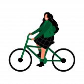 Girl Rides A Bicycle. Eco-friendly Transport And Bike Sharing. A Woman In A Green Jacket And Skirt I poster