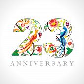 23 Years Old Logotype. 23 Rd Anniversary Numbers. Decorative Symbol. Age Congrats With Peacock Birds poster