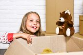 Delivering Happiness. Little Child Open Post Package With Toys. Deliver Your Treasures. Storage For  poster