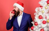Where Are My Cookies. Need For Eat. Appetite And Hunger. Feeling Hungry. Santa Bearded Man Biting Re poster