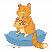 Cat With A Pizza Slice In The Mouth Vector Illustration. Kitty Sit On The Pillow And Eating Pizza. A poster
