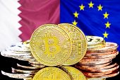 Concept For Investors In Cryptocurrency And Blockchain Technology In The Qatar And European Union. B poster