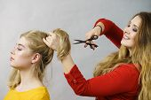 Hairstyle And Haircut. Young Female Barber Holding Scissors Tool Ready To Trimming Hair Her Friends. poster