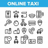 Online Taxi Collection Elements Icons Set Vector Thin Line. Smartphone With Gps Mark And Baggage, Ca poster