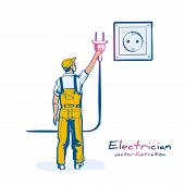 Electric Power Plug Holding In Hand. Unplug, Plugged In Wall Socket. Vector Illustration Flat Design poster