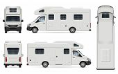 Recreational Vehicle Vector Mockup On White For Vehicle Branding, Corporate Identity. View From Side poster