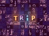 The Word Trip As Neon Glowing Unique Typeset Symbols, Luminous Letters Trip poster