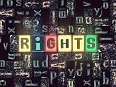 The Word Rights As Neon Glowing Unique Typeset Symbols, Luminous Letters Rights poster