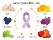 Cancer Prevention Food. Vector Illustration. Health Infographics. poster