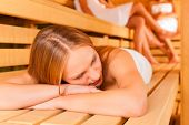 picture of sauna woman  - Sauna wellness  - JPG