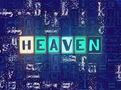 The Word Heaven As Neon Glowing Unique Typeset Symbols, Luminous Letters Heaven poster