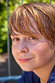 picture of transpiration  - young boy sweating and exhausted from sports - JPG