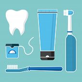 Oral Care And Hygiene, Brushing Teeth. Set Of Dental Cleaning Tools. Tooth, Toothbrush, Electric Too poster