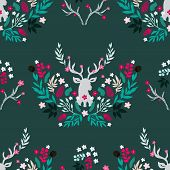 Merry Christmas  Winter Floral  Holiday Art Background. Hand Drawn Christmas  Seamless Pattern  With poster