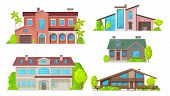 Houses And Residential Home Buildings, Reals Estate Icons. Vector Exterior Facades Architecture Of F poster
