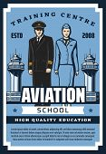 Civil Aviation School, Pilot And Flight Attendant Training Center. Vector Airline Service Staff Qual poster