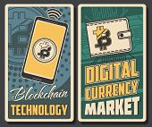 Cryptocurrency Payment, Bitcoin Transaction And Blockchain Technology Poster. Vector Digital Currenc poster