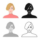 Vector Design Of Girl And Hairdo Icon. Collection Of Girl And Woman Stock Vector Illustration. poster