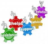 stock photo of helping others  - Several people rising on gears helping each other to achieve success and reach a solution through assistance - JPG