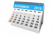 2019 Year November Calendar On A White Background. 3d Rendering poster