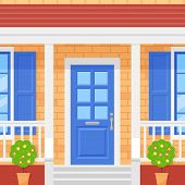 Front Door House. Home Porch. Vector. Facade With Brick Wall, Blue Door, Topiary And Windows. Buildi poster