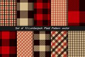 Set Of 10 Lumberjack Plaid Pattern. Lumberjack Plaid And Buffalo Check Patterns. Lumberjack Plaid Ta poster