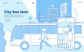 City Bus Tour. Urban Bus Excursion, Tourists With Cityscape And Map Smartphone App. Tourism And Tran poster
