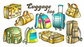 Different Luggage Color Set Vector. Assortment Of Luggage Bag For Business Trip, Extreme Tourist Tra poster