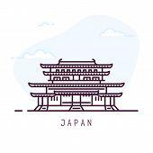 Japan City Line Style Illustration. Famous Yakushi-ji Imperial Buddhist Temple Nara. Architecture Ci poster